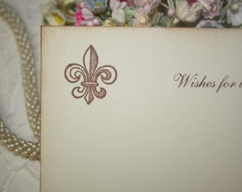 Wedding Wish Cards - Fleur de Lis - Wishes for Bride and Groom - Ivory - Set of 25