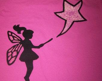 Fairy Magic Fabric Applique Tshirt Infant Toddler Hot Pink Fairy Tshirt 12m 18m 24m 12 m 18 m 24 m