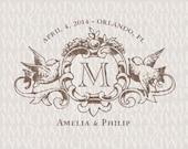 Love Birds Heraldry Custom Wedding Monogram - Wedding Logo - Wedding Crest
