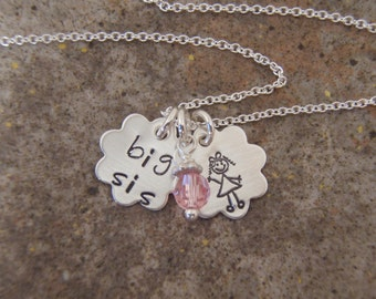 Big sis necklace - Sister gift - Sterling silver big sis necklace with birthstone crystal of your choice - Photo NOT actual size