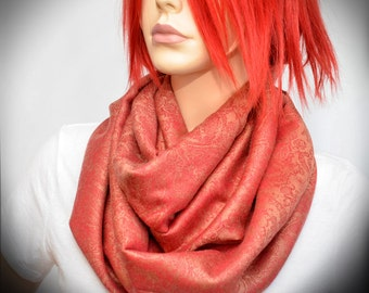 Coral Red Floral Paisley Pashmina Infinity Scarf