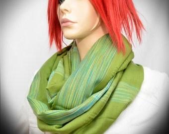 Green Infinity scarf - loop cowl scarf