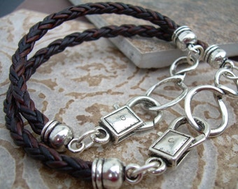 His and Hers Set of  Infinity Bracelets, Leather Bracelet, Mens, Womens, Mens Bracelet, Womens bracelet, Mens Jewelry, Womens Jewelry