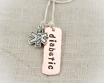 Medical Alert Charm Necklace Sterling Silver and Copper  Personalized Hand Stamped Jewelry
