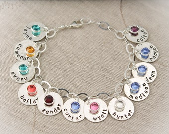 Personalized Mother Charm Bracelet with Birthstones, Mommy Jewelry, Grandma Charm Bracelet, Mother's Day Gift, Gifts for Her, Hand Stamped