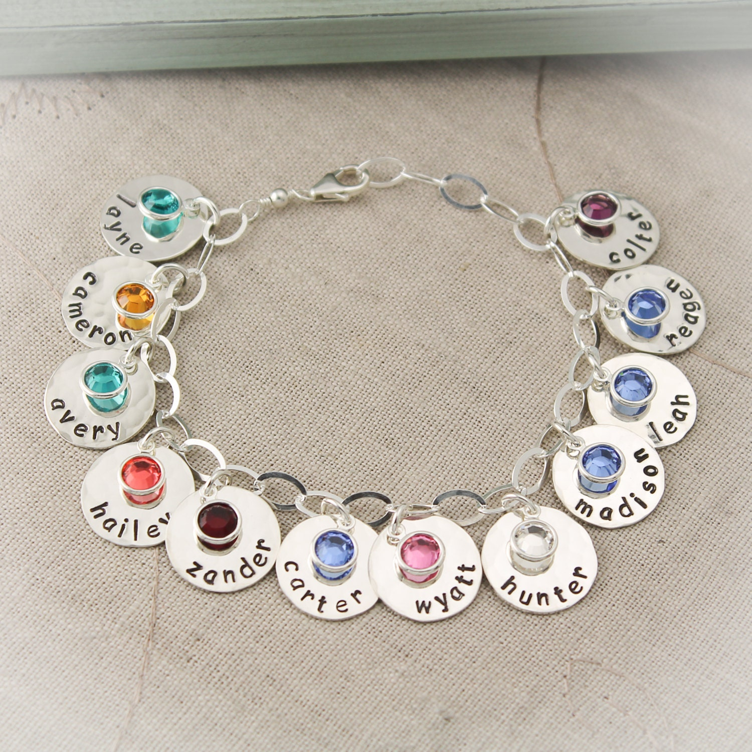 Birthstone Charm Bracelet: Personalized Mother Charm Bracelet With Birthstones Mommy