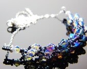 "Swarvoski Crystal Purple Blue 2X AB Necklace Hematite Black Sterling Silver Beadweaving - ""Blue Morning"""