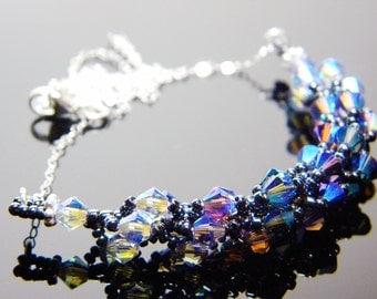 "Swarvoski Crystal Purple Blue 2X AB Necklace Hematite Black Sterling Silver Beadweaving - ""Blue Morning"""