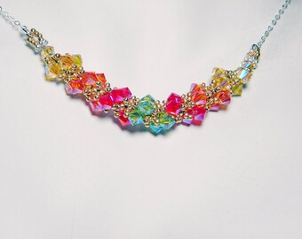 """Titania Dresden Files Inspired Swarovski Crystal Necklace Beadweaving Sterling Silver -  """"Lady of Light and Life"""""""