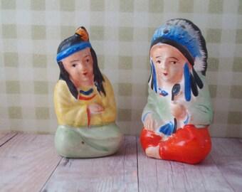 Delightful Vintage Salt and Pepper Set - American Indians - Nice Colors
