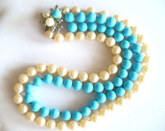 Vintage pearl necklace, aqua beads, rhinestone clasp, two-strand necklace