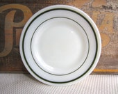 Vintage Anchor Hocking Saratoga Pattern Green Band on Milk Glass Plates Restaurant Ware