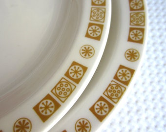 Vintage Golden Yellow Geometric Design Buffalo China Small Plates Restaurant Ware
