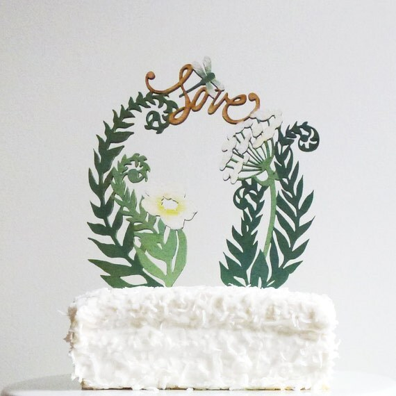 Cake Toppers With Flowers : Ferns and Flowers Cake Topper
