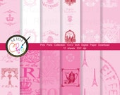 Items similar to instant download pink paris shabby chic - Scrapbooking paris boutique ...