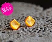SALE vintage button earrings - orange studs