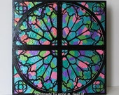 "12""x12"" Faux Stained Glass Cathedral Window Mixed Media Panel"