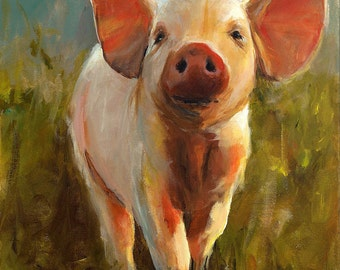 Pig Painting - Morning Pig - Giclee Print of an Original Painting by Cari Humphry 16x20
