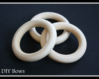 10 - Large Wooden Ring - 3 inch diameter (76mm) - Great for Jewelry, Teethers, Ring Toss Games and More
