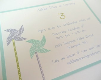 Pinwheel Birthday Invitations, Pinwheel Baby Shower Invitations - Set of 8