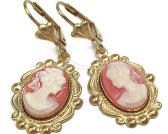 Classic Cameo Carnelian and Cream Earrings - Victorian Style Cameo Earrings Orange & Cream or Black and White