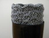 Boot Cuff - Grey- Crocheted