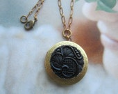 Ornate Antique Black Glass Button Front Locket Necklace
