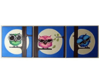 AwAkE sLeePy ZZZzzz OwLs - set of 3 12x12 original acrylic paintings on canvas