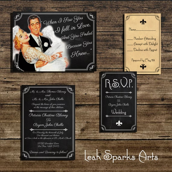 Comic Book Wedding Invitations: Items Similar To Vintage Retro 1950 Chalkboard Comic