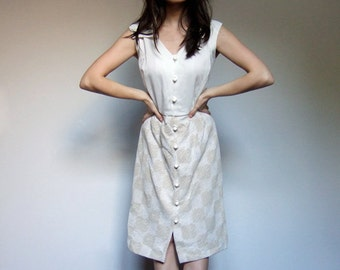 70s Beige White Dress Button Up Collared Vintage Sleeveless Knee Length Retro - Large L