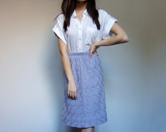 Lilac Crochet Skirt 70s Leaf Pattern Open Weave Knee Length Light Purple Pastel Knit Skirt - Extra Small to Small XS S