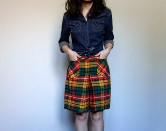 Vintage Plaid Skort Culottes 1960s 60s Tartan Yellow Red Green Preppy Geek Skirt Shorts - Extra Small XXS/ XS