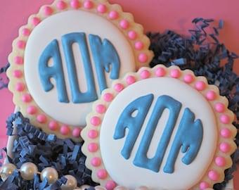Preppy Circle Monogram Decorated Sugar Cookies (12)