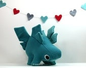 Eco Plush Stegosaurus Dinosaur in Columbia Blue Wool with Teal Accents - Handmade with Upcycled, Recycled, & Eco Friendly Materials