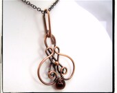 010 AAA Garnet Briolette Gemstone Antique Copper Wire Wrapped Pendant