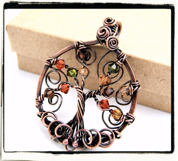 018 Antique Copper Autumn Crystal Wire Wrapped Tree of Life Pendant