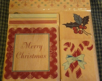 Reduced! Merry Christmas- Great New Set of 5 Anna Griffin WM Stamps - Cards - Crafts - ATCs - Domino Art - Scrapbooks - FREE Shipping