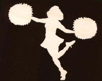 Cheerleader Figure with Pom Poms Unfinished Craft Wood Cutout 1369