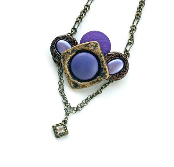 Vintage Button Statement Necklace Victorian Gothic Czech Rhinestone Pendant Brass Chain Purple Lavender Lilac OOAK Reduced by 25%