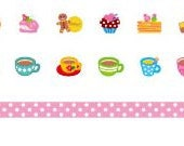 Set of Tea Cups Cakes and Dots 6mm Deco Rush Tape - Cafe Series Dispenser pen with tape and 2 Refills