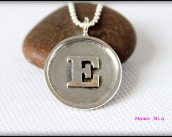 Initial Necklace, Soldered Necklace, Soldered Jewelry, Initial Jewelry, Mommy Initial Necklace, Sterling Silver Initial Necklace, Mama Mia