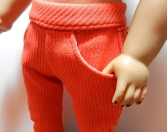 BK Orange Knit Skinny Jeans with Front and Back Pockets - 18 Inch Doll Clothes fits American Girl