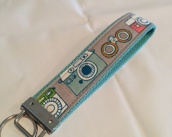 One Key Fob Wristlet - Organic Captured Fabric on webbing