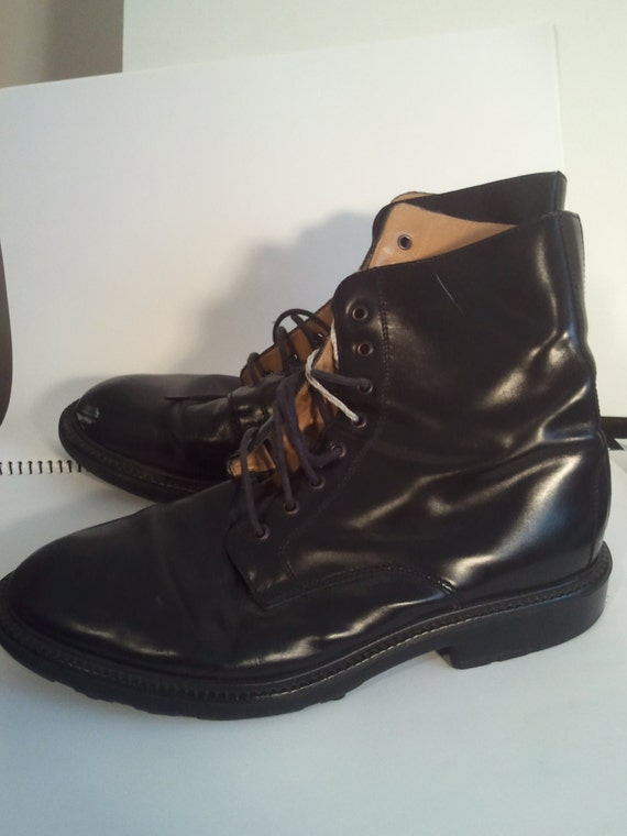 black leather boots army combat punk size 12  Italian