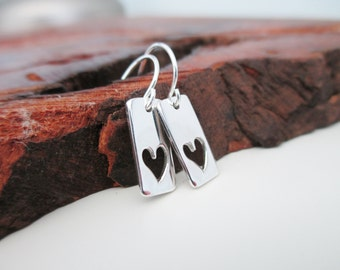I Love You - Sterling Silver Cut Out Heart Dangle Earrings - Valentine's Day -  Mothers Day