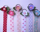 Rose Hair Bow Holder Hair Clip Holder Barrette holder with Polka Dot Ribbon