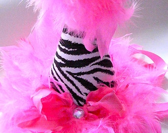 First Birthday Party Hats- Zebra and Hot pink Princess party hat
