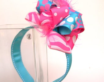 Headbands with Loop Style Bow-Cotton Candy