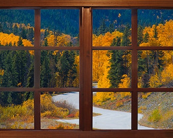 Wall mural window, self adhesive, Colorado window view-3 sizes available- Cottonwood Pass View
