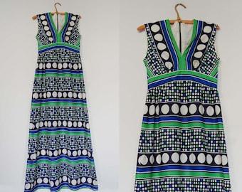 V I  N T A G E Mod Circles Maxi Dress. Bohemian Love In.